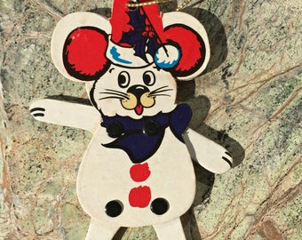 Christmas, articulating, Mouse, Ornament, Vintage