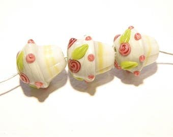 Set of Three (3) Lampwork Cupcake Beads with Pink Rosebuds -- Lot UU