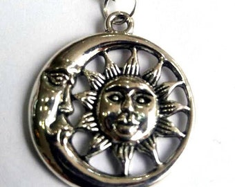 Silver Sun and moon pendant necklace