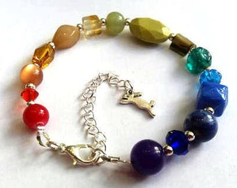 Rainbow bracelet - chakra bracelet - recycled bracelet - eco bracelet