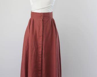 1990s Rust Linen Midi/Maxi Skirt