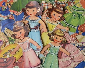 Vintage Little School Girls Paper Dolls with Clothes Merrill 1950's
