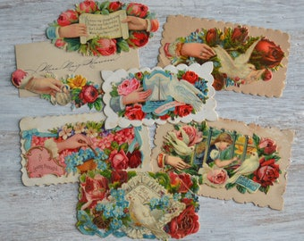 Victorian Hidden Name Calling Cards Doves Hands Flowers