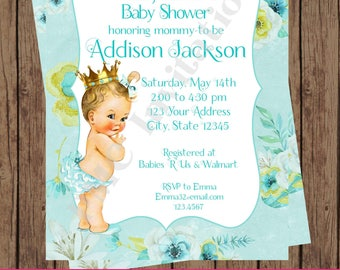 Custom Printed Floral, Shabby Chic, Antique, Vintage, Select hair/skin color, Turquoise Royal Princess Baby Shower Invitations
