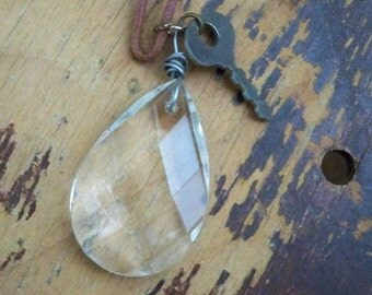 Vintage chandelier crystal pendant - Small vintage key - Brown suede cord - Unisex - One of a Kind - bycat