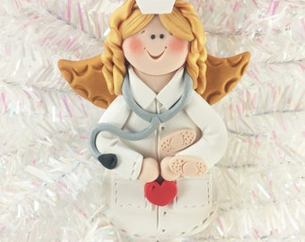 Nurse Angel Christmas Ornament - Gift for Nurse - RN Ornament - LPN Ornament - Thank You Gift for Nurse - Polymer Clay Ornament -62610