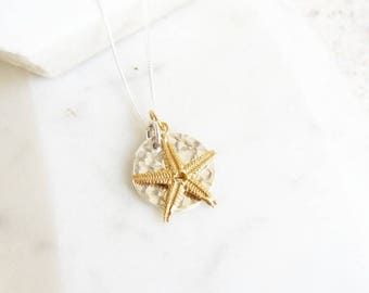 Hammered Silver Disc and Gold Vermeil Starfish Necklace
