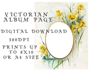 8x10 printable Victorian album page - daffodil flowers - chromolithograph print copy - instant digital download