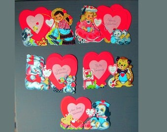 1960s vintage valentine's day greeting cards with neon hearts and cute animal and people characters - ONE card per price
