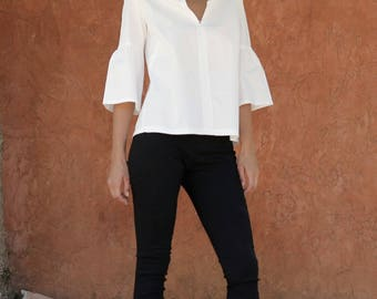White  Ruffle top Size 5 XL   / White frill shirt / Women's Tailored shirt /  white cotton / Chinese collar/ Office wear / Casual top