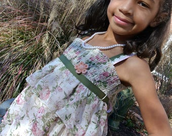 girls prairie-style dress made from vintage materials