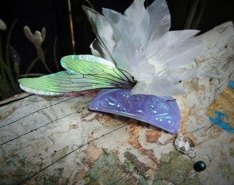 Titania Hairclip magical Clematis Flower and Crystal claw accessory