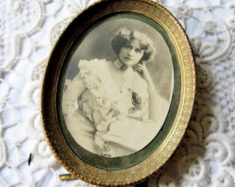 Antique photo frame, Antique French oval photo frame, Antique Art Nouveau frame, Antique theatre star photo frame, Antique glass photo frame