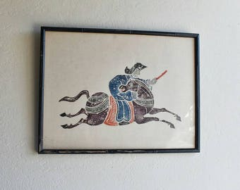 1950s Horse Rider Artwork Asian Influence Mid Century Framed at Jack Simmerlings Heritage Gallery