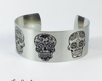 Sugar Skulls Bracelet, Cuff Bracelet, Silver Cuff, Sugar Skull Jewelry, Bracelet, Metal Cuff Bracelet, Sugar Skulls, Skull