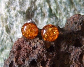 Baltic Amber 10mm Ear Studs Stud Earrings Earings Titanium Posts and Clutches Hypo Allergenic Made in Newfoundland Energy