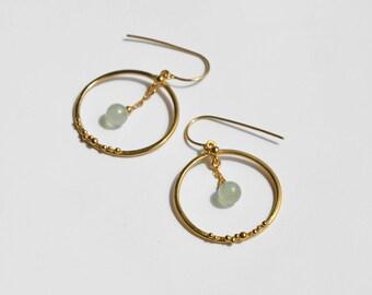 Prehnite chandelier earrings gold – Hoops with pale green stones - bubble hoop earrings gold plated silver – boho chic – party earrings