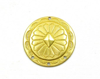 6 gold Southwestern Concho brass jewelry charm. Perfect for earrings.  27mm (T17).