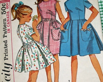 """Vintage 1960s Sewing Pattern, Girls' One-Piece Dress, Girls' Size 10, Breast 28"""""""