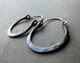 Simplicity Nicely Forged, Hip Hoops, a little rustic, a little stylish, perfect for everyday and every wear, bohemian earrings in Copper