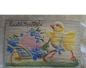 Deeply Embossed Easter Postcard, Chicken And Egg Postcard, FREE Shipping
