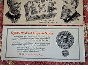 Vintage Advertising Blotter Collection, 6 Pieces, Smith Bro's, Cough Drops, Coppersmithing, Round Oak Stoves