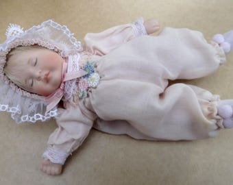 """Vintage Miniature 6.5"""" Bisque Sleeping Baby Doll Hand Painted L.E. 3207/4000"""