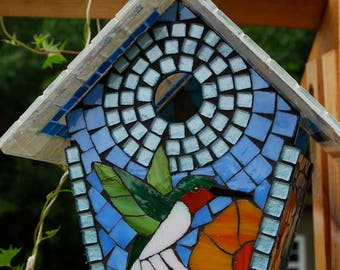 Birdhouse Stained Glass Mosaic Hummingbird in the Flowers