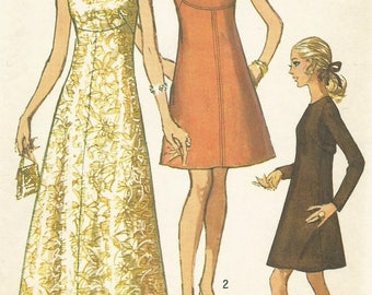 Vintage 60s Simplicity 5351 UNCUT Misses Evening Dress- Mother of the Bride Sewing Pattern Size 10 Bust 32.5