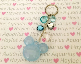 Mickey Mouse Head Keychain, bag charm, purse charm, Mickey handbag charm, Blue keychain