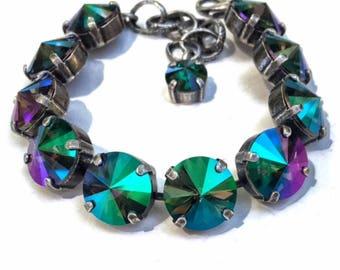 12mm Swarovski Crystal Bracelet Rivoli Rhinestone Tennis Bracelet Big Stone Looks, Rhinestone Bracelet, Chunky Rhinestone Bracelet