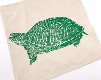 Turtle Tortoise Tea Towel in Green - Hand Printed Flour Sack Hand Kitchen Towel (Unbleached Cotton)