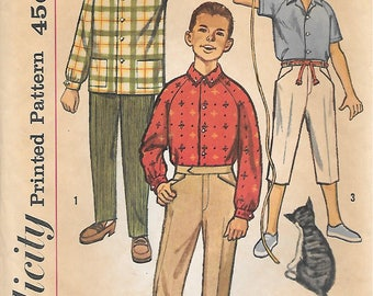 Simplicity 4017 1960s Boys Raglan Shirt and Pants in Two Lengths Vintage Sewing Pattern Size 10 Chest 28