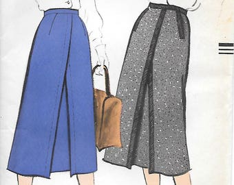 Vogue 9388 1950s Inverted Pleat Fitted Skirt Vintage Sewing Pattern Waist 26