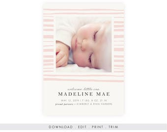 Modern Baby Girl Birth Announcement | Instant Download, Printable Template, Newborn Announcement, Birth Announcement Template, Everly Paper
