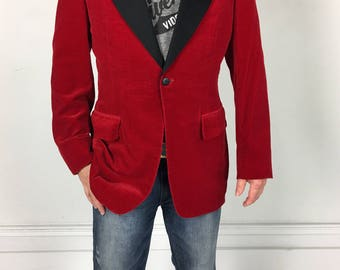 Vintage 60s Red Velvet TUXEDO / SMOKING JACKET after six 39 Long 1950s 1960s hefner black lapel formal tux blazer sports coat suit 40 S M