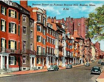Vintage Boston Postcard - Beacon Street on Beacon Hill (Unused)