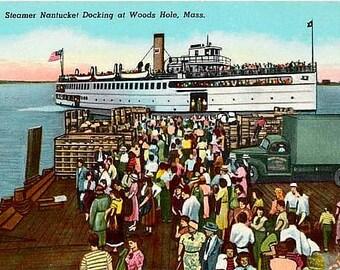 Vintage Cape Cod Postcard - The Nantucket Ferry docking at Woods Hole (Unused)