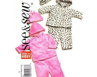 Baby Sewing Pattern Hooded Jacket, Pants, Hat Butterick 4892 Asymmetrical Closing Coat Boys Girls Infant Size NB S M L Sewing Pattern Uncut