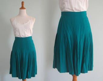 90s Rayon Skirt - Cute 90s Teal Pleated Skirt - Vintage Turquoise Blue Midi Skirt - Vintage 1990s Skirt M L