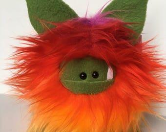 Rainbow Monster Doll - Stuffed Monster - Monster Plushie - Cuddly Boy Monster - Soft Toy Plush Monster - Fuzzling - Handmade Monster Softie
