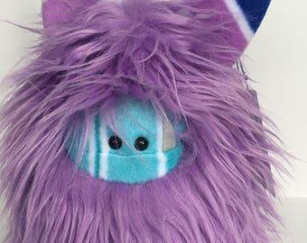 Stuffed Monster - Monster Plushie - Purple Monster Doll - Cuddly Boy Monster - Soft Toy Plush Monster - Fuzzling - Monster Softie - Handmade
