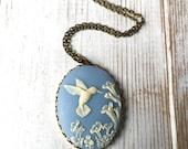 Hummingbird Necklace Cameo Bird Pendant Bird Silhouette Cameo Gift for Her Ivory Cameo Forest Wedding Garden Gift Blue Bird Necklace