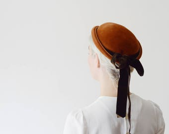 1950s Brown Velvet Cap With Long Ribbon