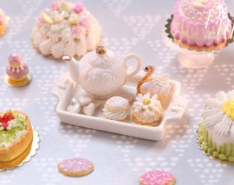 MTO -White Teatime - with Teapot and French Pastry Selection - Miniature Food for Dollhouse 12th scale 1:12