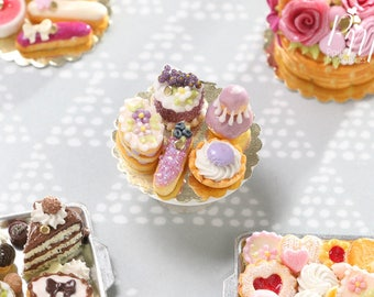 Display of Five Beautiful Lilac French Pastries/Desserts - Miniature Food for Dollhouse 12th scale (1:12)
