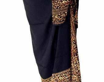 Black Beach Sarong Pareo Wrap Skirt Swimsuit Coverup - Batik Pareo - Black Sarong  - Mens or Womens Swimwear - Batik Sarong Skirt Beach Wear