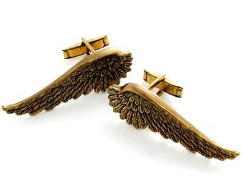 Steampunk Brass Angel Wings Cuff Links