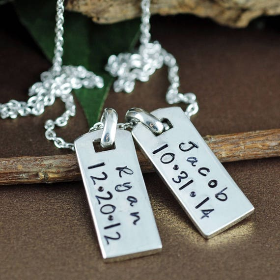 Dog Tag Necklace, Mini Dog Tag Necklace, Personalized Mothers Necklace, Gift for Mom, Mothers Day Gift, Silver Name Necklace, Name Necklace