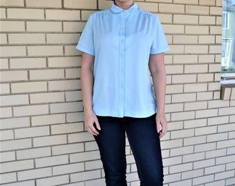 70s light blue blouse, Large vintage polyester blouse, 1970s Lee Mar clothing